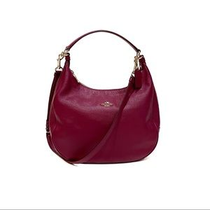 Coach Pebbled Leather Harley Hobo in Magenta Gold
